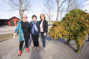 Gudrun Strandberg, demenssjuksköterska på Avesta kommun, Ozawa Yoshiko, professor från Japan, och  Katrin Lindholm, anhörigsamordnare, träffades i Avesta visentpark för att prata om stöd till unga personer som har en förälder som drabbats av demens.