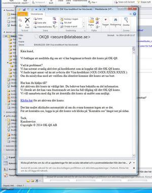 Har du fått ett sånt här mejl? Släng det! Det är bedrägeri.