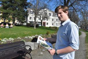 Andreas Sjögren, 20, har fått jobb genom Tekniksprånget. Nu arbetar han med att hitta strategiska ställen för stadens parkbänkar.