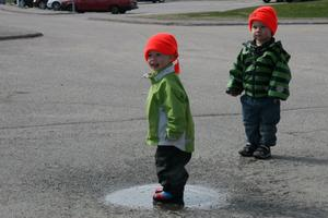Olle Wälås och Loke Åkesson hittade en vattenpuss efter vägen, som de bara måste kolla innan det bar av igen.