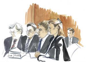 Kammaråklagare Håkan Roswall, längst till vänster, samt resten av åklagarna under rättegången mot The Pirate Bay i Stockholms tingsrätt.Illustration: Lotta Jarlsdotter/Scanpix