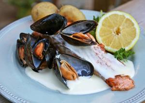 Stekt lax med vindoftande musselsås och med blåmusslor som garnityr är uppskattad bjudmat bland fiskvänner.    Foto: Dan Strandqvist