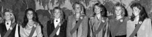 Luciakandidaterna 1985, från vänster: Jeanette Elffors, Hoverberg, Irene Gottfridsson, Svenstavik, Katarina Öystensdotter-Westman, Månsåsen, Maria Grip, Östersund, Ingela Göransson, Sveg, Eva Lotta Larsson, Östersund och Ann Catrine Olofsson, Östersund.