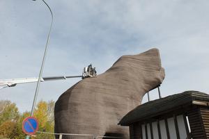 Träbjörnen i Sveg får finska takmattor på ryggen för att skyddas mot regn.