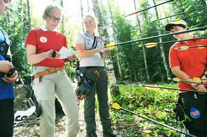 Lina Björklund (tvåa från vänster) och hennes konkurrenter har själva att bedöma träffarna. Allt i en kamratlig anda.