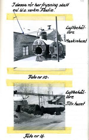 Polisens bild efter smällen 1955 från platsen där tillverkningshuset stått (Fotot taget efter röjningen)