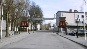 Så här vill föreningen Engelbrektsloppet att portalen vid stora torget ska se ut. Laven som står vid Mossgruveparken i Kärrgruvan har stått modell.
