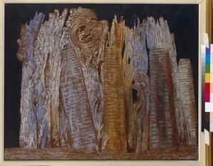 På väg mot den surrealistiska skogen. Vision framkallad genom åsynen av Porte Saint-Deis om natten (1927).