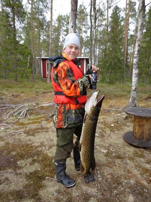 Gädda 8,890. Håsjön, Hån-Vemdalens f.v.o. Rasmus Öst-Linder 11 år, Indal.