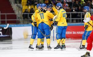 Sverige vann med 6–3 i supermötet med Ryssland i bandy-VM. Foto: Rikard Bäckman / Bandypuls.se / TT /