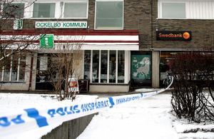 Swedbank i Ockelbo efter rånet 2008. Bild Pernilla Wahlman / TT