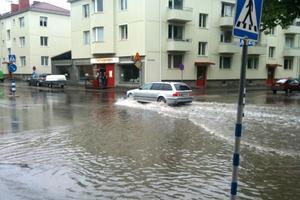 Roslagsgatan liknade mer en ån än en väg. Foto: Stig-Göran Nilsson
