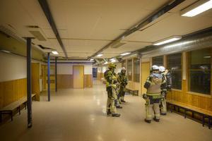 Räddningstjänsten sökte igenom lokalerna i anslutning till bastun vid omklädningsrummen men kunde ej lokalisera någon brand.