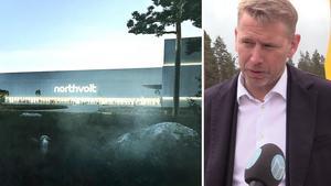 Northvolts demofabrik på Finnslätten kan i framtiden få sällskap av ännu fler byggnadern.Skiss av fabriken: Northvolt