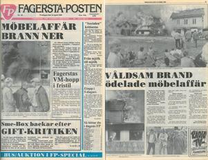 Ludvig Petterssons möbelaffär brann ner den 13 april 1989 och hamnade på förstasidan i tidningen dagen därpå.