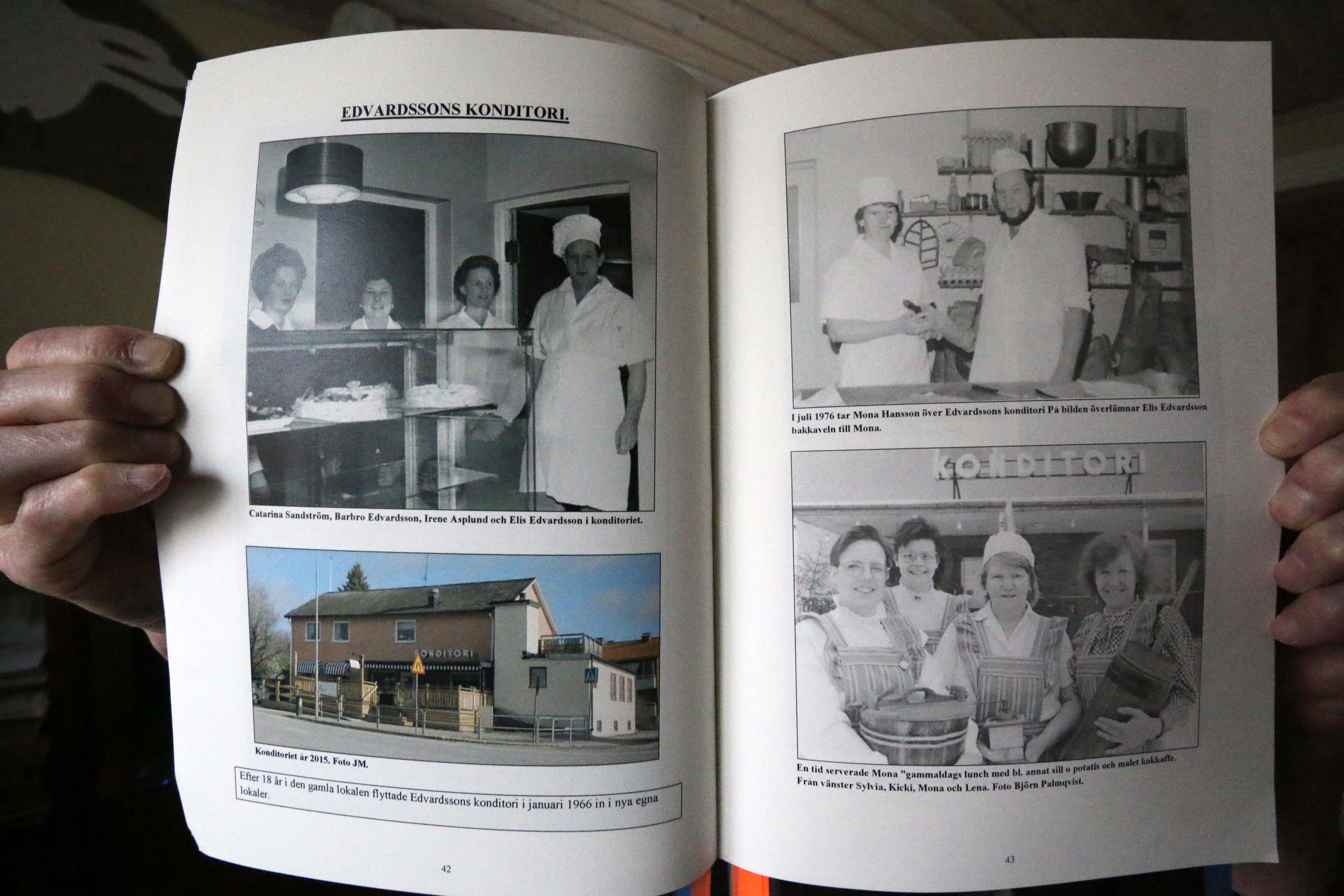 Edvardssons konditori på Letstigen under 1970-talet och en nyare bild från 2015.