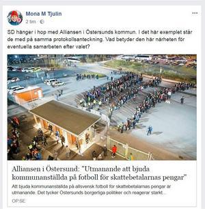 Faksimil från Facebook.