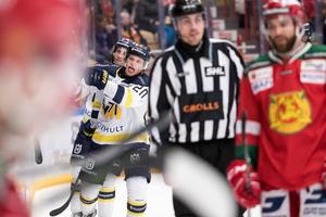HV71 firar ledningsmålet .Foto: Daniel Eriksson / BILDBYRÅN.