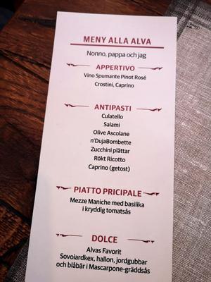 Dagens speciella meny där huvudrätten var en pasta med kryddig tomatsås.
