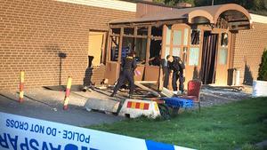 Köket till vänster om tamburen skadades allvarligt av explosionen.