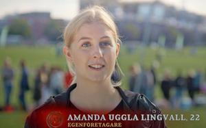 Till tv-kamerorna sa Amanda Uggla Lingvall att hon ställer upp för att se hur långt hon kan ta sig i tävlingen. Bild: TV4