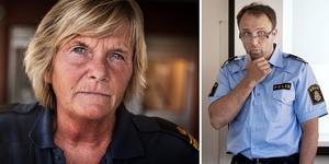 Till vänster: Lena Nilsson, en av två poliser i yttre tjänst som är stationerade i Idre. Foto: Anton Ryvang. Till höger: Peter Karlsson, polisområdeschef för Dalarna. Foto: Arkiv