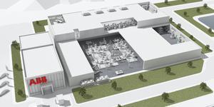 Den nya fabriken ska enligt planerna bli världens mest avancerade, automatiserade och flexibla robotfabrik. Illustration: ABB