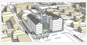 Borlänge kommuns skiss ur detaljplanen för östra delen av Maximtorget. Foto: Borlänge kommun