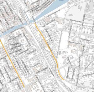 Fältskärsledens gång- och cykelväg mellan Södra Strandgatan och cykelöverfarten söder om Kasernbron Bild: Gävle kommun