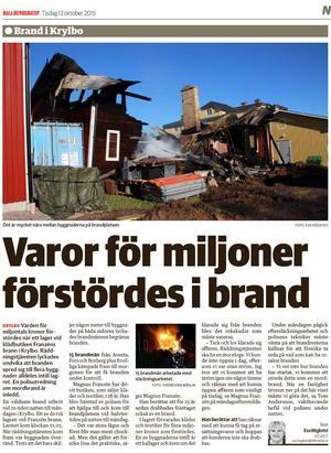Faksimil från Dala-Demokraten efter branden i Franzéns lager i Krylbo i oktober 2015.