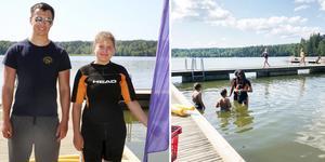 Sommarsimskolan vid Eklundsnäsbadet har haft lite problem att locka deltagare. Men hoppas på ett lyft när sista veckan inleds på måndag. Foto: Peter Johansson och Noah Blommé