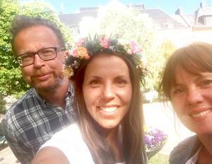 Reportageteamet Andreas Lidén, Maria Eilertsen med Charlotte Kalla i en stor sommarintervju.