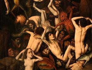 Nederländaren Dirk Bouts var en av de konstnärer som under medeltiden klädde av ondskan och framställde den i nidbilder som grotesk.