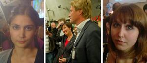 Emma Patel till vänster är på Socialdemokraternas valvaka. I mitten syns Bodström och Sahlin. Till höger NA:s reporter Eva Åkesson som rapporterar från Moderaternas valvaka.