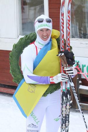 Kristinaloppsvinnaren Susanne Nyström efter målgång.