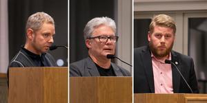 Markus Kummu (V), Jimmy Karlsson (BP), Viktor Zakrisson (S) presenterade var sitt budgetförslag.