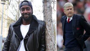 Ronald Mukiibi vill ta ett snack med Arsenals tränare Arsène Wenger. Bild: Patrick Sjöö/TT Nyhetsbyrån.