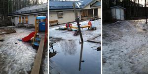 Under fredagen var Saltsjöns förskolegård isig och omöjlig att ta sig fram på.