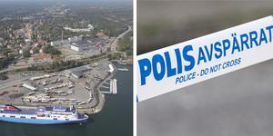 Polisens bombgrupp kallades in för att undersöka ett föremål i Nynäshamns hamn under fredagen. Foto: Helene Skoglund/NP, Johan Nilsson/TT