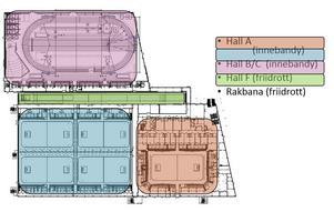 En planskiss över hur anläggningen i Uppsala är uppdelad.