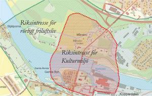 Det röda området på bilden markerar riksintresse för kulturmiljö. | Bild: Avesta kommun