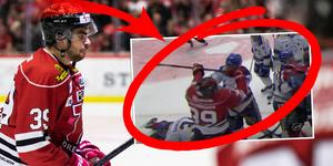 Jordan Boucher fick matchstraff. Foto: Johan Bernström (Bildbyrån) / C More (skärmdump).