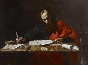 Aposteln Paulus skriver sina brev. Målning av Valentin de Boulogne från 1620.