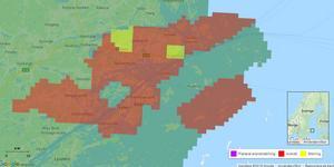 Bild från Telias hemsida som visar omfattningen av avbrottet som berörde 2725 hushåll.