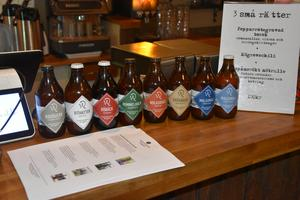 Westerbottens bryggeris sortiment uppradat på kassadisken.