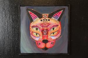 Ett av djurporträtten på tavla.