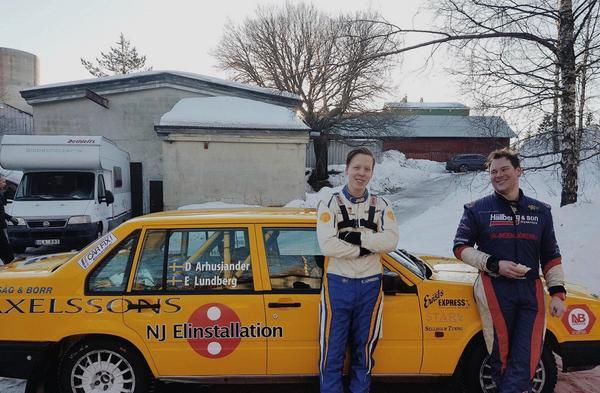 Elias Lundberg och David Arhusiander njöt av andraplatsen i Vännäs. Foto: Elias Lundberg Rally.