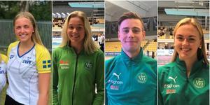 Edith Jernstedt, Hannah Brunzell, Gustaf Dahlman och Filippa Sterling tog medaljer under SM i Malmö. Foto: Västerås Simsällskap