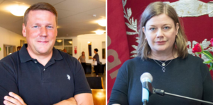 Tobias Baudin, förbundsordförande Kommunal och Malin Ragnegård, Kommunal avdelning Bergslagen.