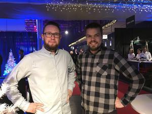 Filip Åberg, Freddy Larsson                                         – Vi är här med företaget Orrby, och just nu väntar vi in resten av gänget. Men vi hoppas på god mat och bra underhållning.
